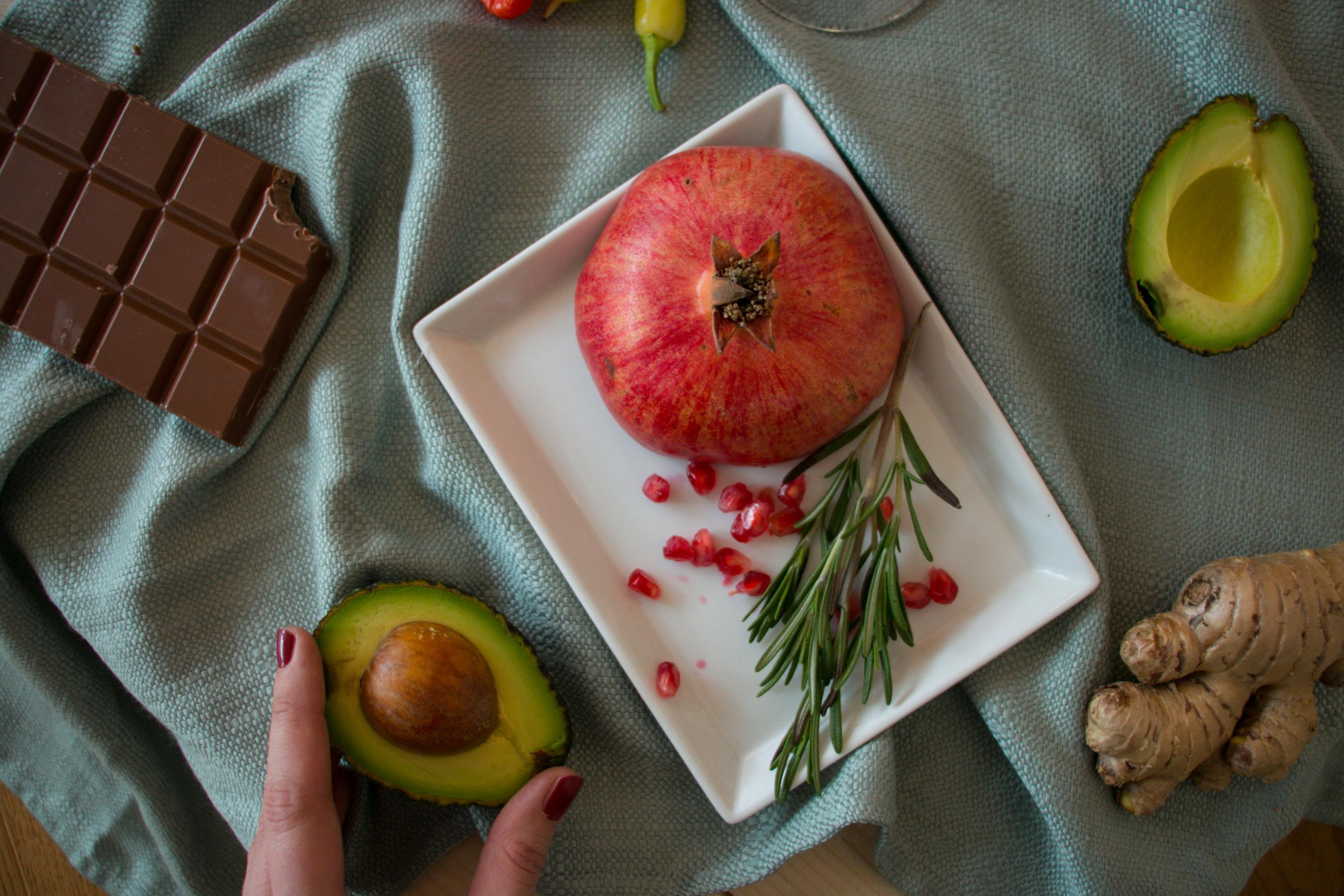Granatapfel Avocado Schokolade Ingwer Liebe