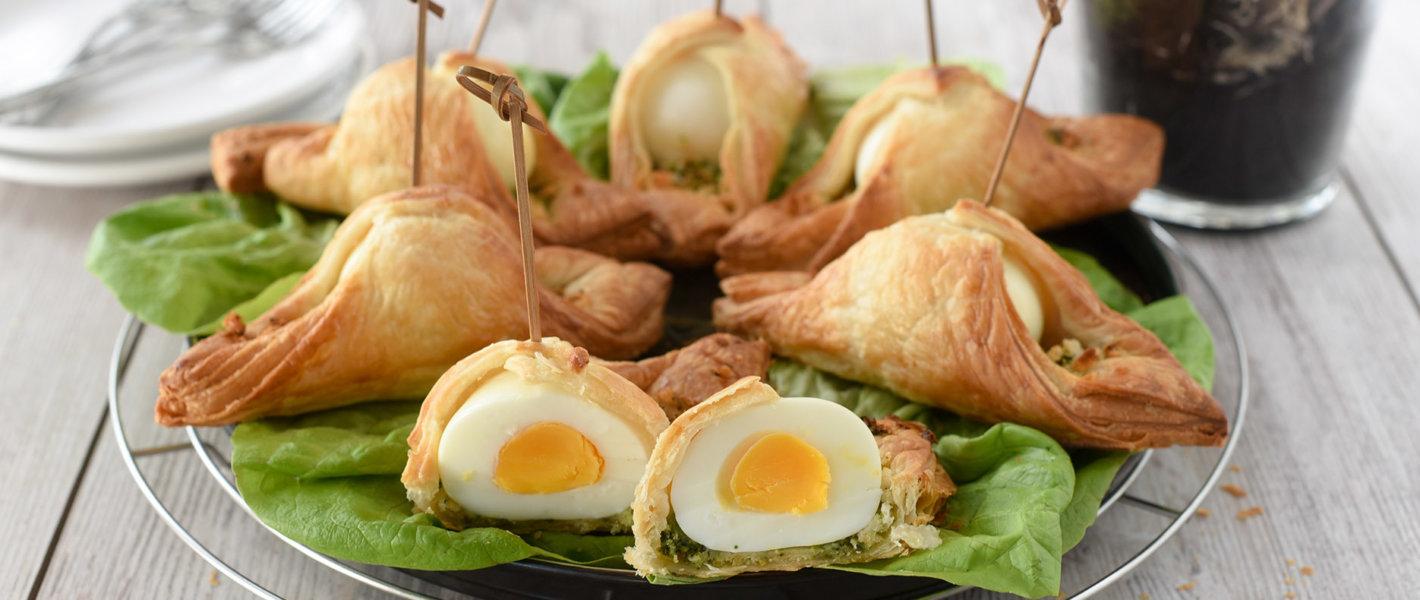 Eier im Blätterteig