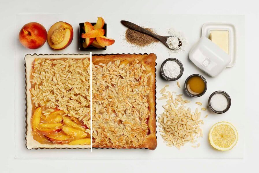 Nektarinen Blechkuchen mit Mandeln