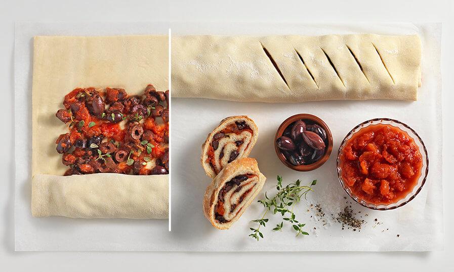 Ciabatta mit Tomate und Olive