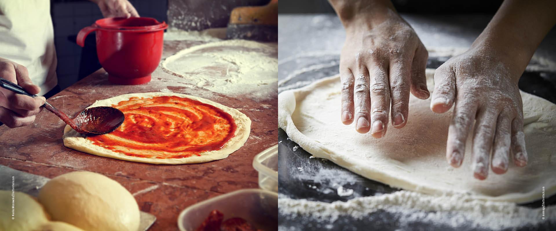 Pizzateig verarbeiten
